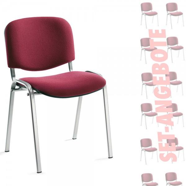 8er Set-Besucherstühle ISO Bezug Stoff Basic, bordeaux