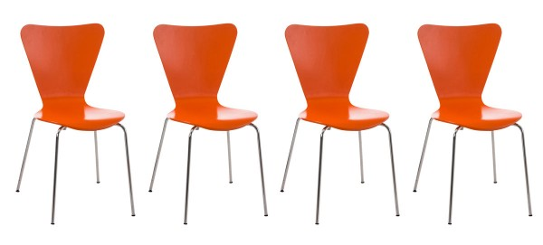 4er Set Besucherstuhl Calisto, orange