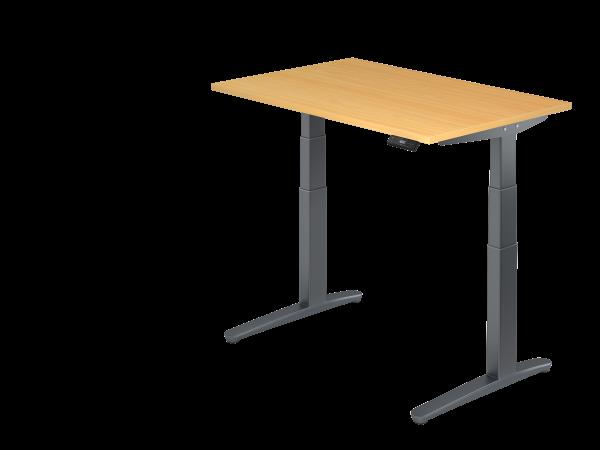 Sitz-Steh-Schreibtisch elektrisch 120 x 80 cm Buche / Graphit