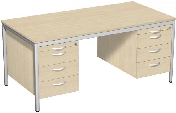 Schreibtisch mit 2 Hängecontainern 160 x 80 cm