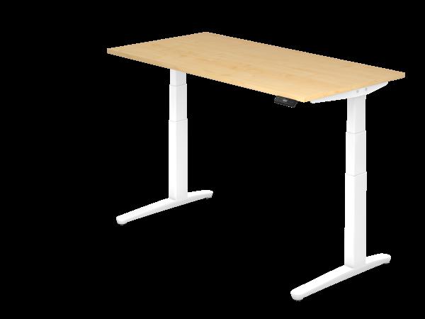 Sitz-Steh-Schreibtisch elektrisch 160 x 80 cm Ahorn / Weiß