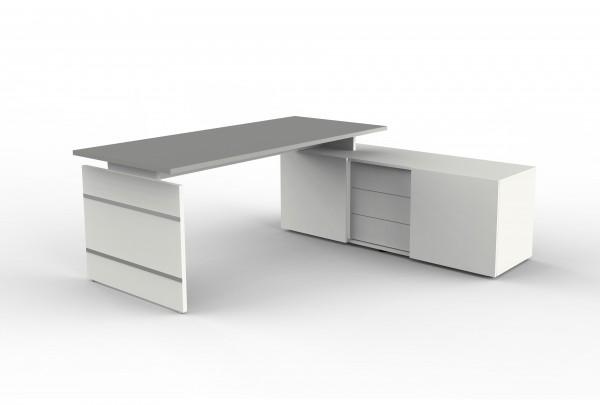 Form 4 Komplettarbeitsplatz, Eckkombination aus Schreibtisch und Sideboard, Weiß / Graphit
