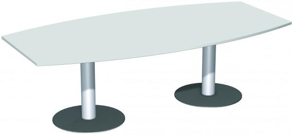 Konferenztisch Tellerfuß, Faßform, 240x80-120cm, Lichtgrau