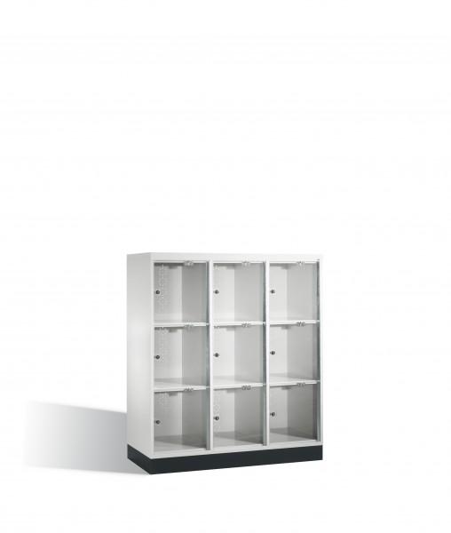 Schließfachschrank Intro XL mit Acrylglastüren, 9 Fächer, 137x122x50cm