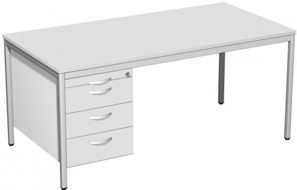Schreibtisch mit Hängecontainer, 160x80cm, Lichtgrau / Lichtgrau