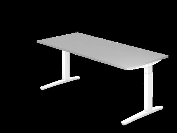 Schreibtisch C-Fuß 180 x 80 cm Grau / Weiß