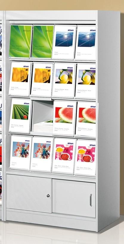 Print-Prospektschränke 16 Fächer und Schiebetürenschrank