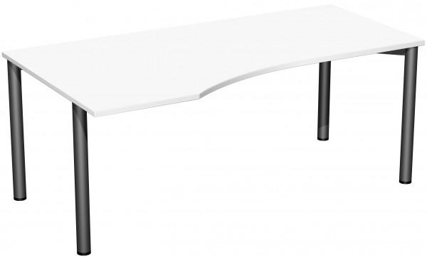 PC-Schreibtisch links 180 x 100 cm Weiß / Anthrazit