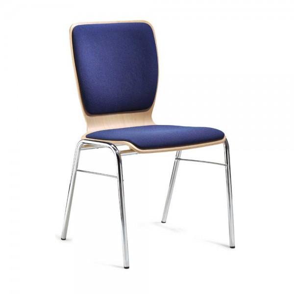 Besucherstuhl JARA Sitz- und Rückenpolster Stoff Blau / Verchromt