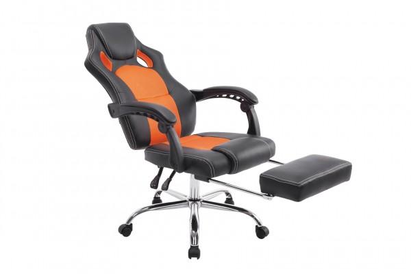 Bürostuhl Energy mit Fussablage, schwarz/orange