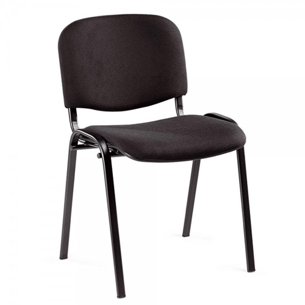 8er Set-Besucherstühle ISO Stoff Schwarz / Schwarz