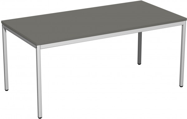 Konferenztisch Viereckfuß, 160x80cm, Graphit / Lichtgrau