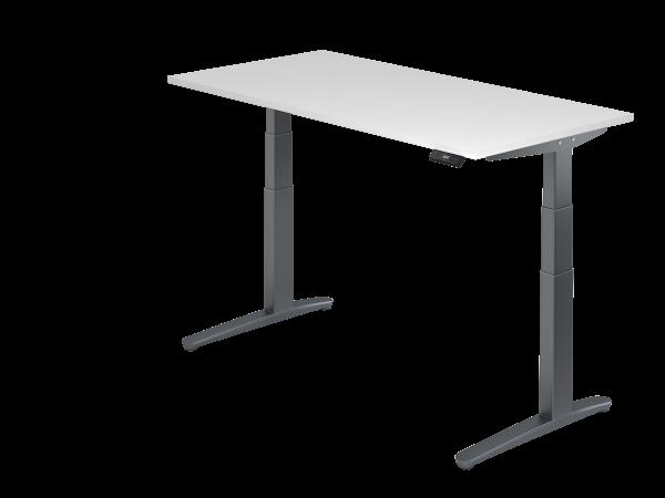 Sitz-Steh-Schreibtisch elektrisch 160 x 80 cm Weiß / Graphit