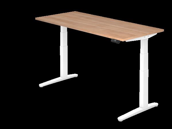 Sitz-Steh-Schreibtisch elektrisch 180 x 80 cm Nussbaum / Weiß