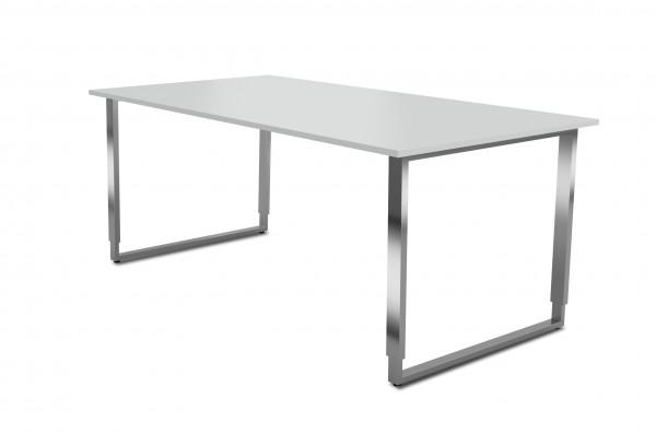 Schreibtisch Aveto, 180x80x68-82 cm, Bügelgestell, Lichtgrau