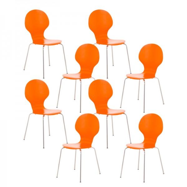 8er Set Besucherstuhl Diego, orange
