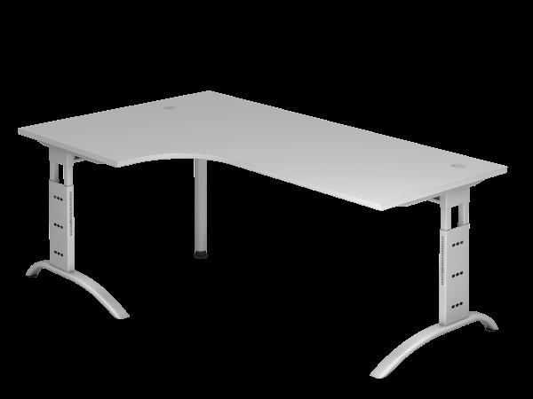 Winkeltisch 90° C-Fuß 200 x 120 cm Grau / Silber