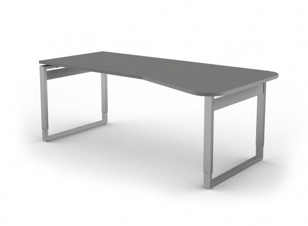 Freiformtisch, 195x80/100cm, O-Fuß (Form 3), Graphit / Silber