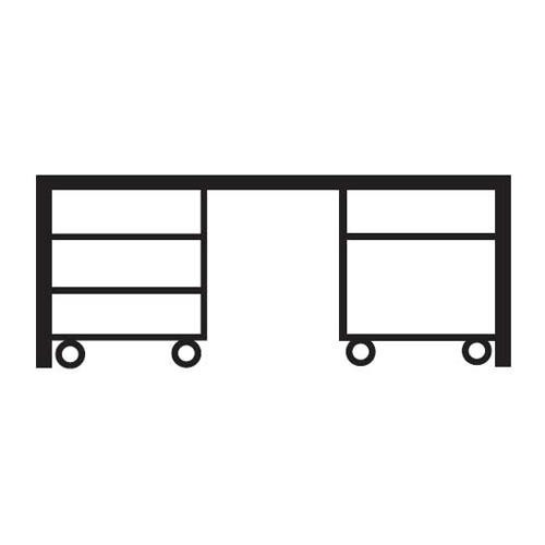 Schreibtischkombination BASE L 180 x 80 x 72 cm mit 2 Rollcontainern (Hängeregistratur und Schübe) L