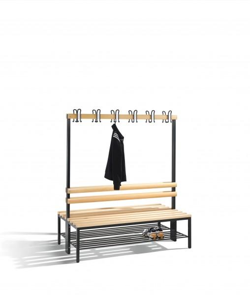 Doppelseitige Garderobenbank Basic mit Schuhrost, 165x150x75cm