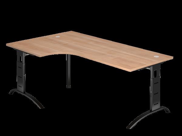 Winkeltisch 90° C-Fuß 200 x 120 cm Nussbaum / Schwarz