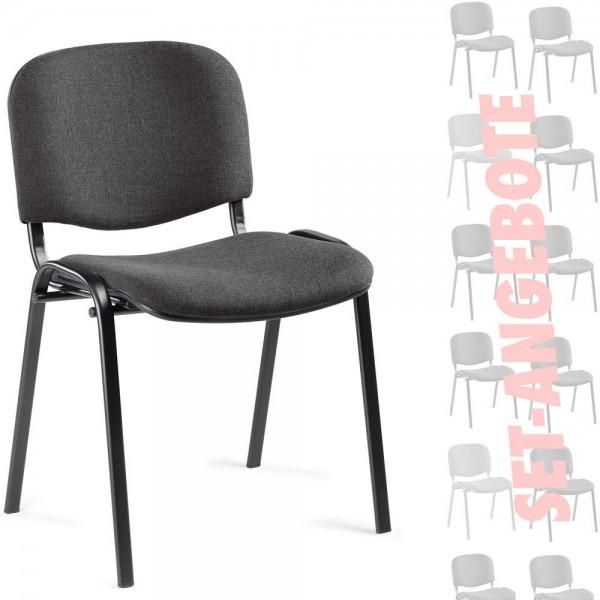 8er Set-Besucherstühle ISO Stoff, Basic anthrazit