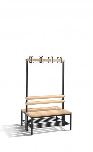 Doppelseitige Garderobenbank Basic mit Schuhrost, 165x100x75cm