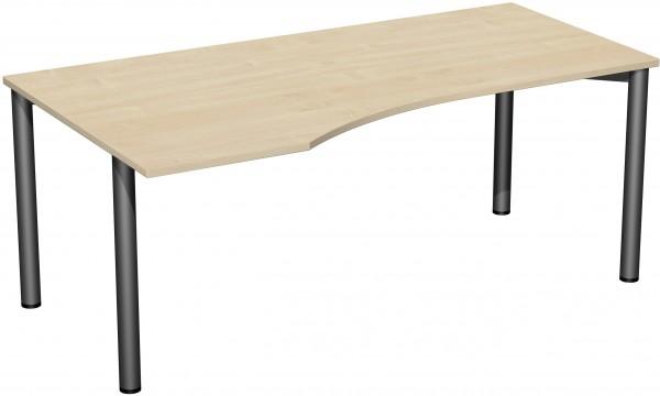PC-Schreibtisch links 180 x 100 cm Ahorn / Anthrazit