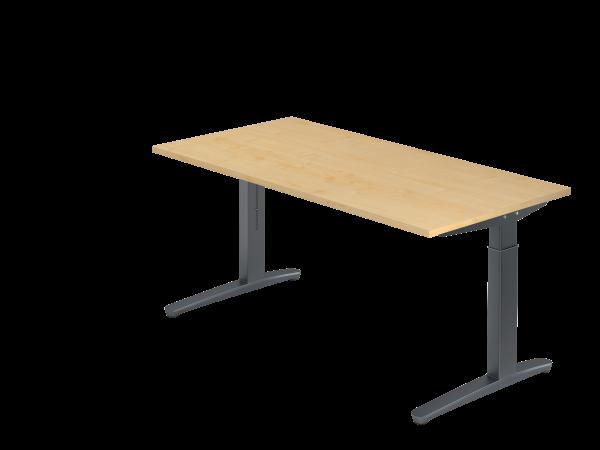 Schreibtisch C-Fuß 160 x 80 cm Ahorn / Graphit