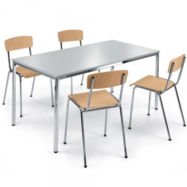 SET, 1 Tisch, 4 Stapelstühle Holz Tisch 160x80 cm