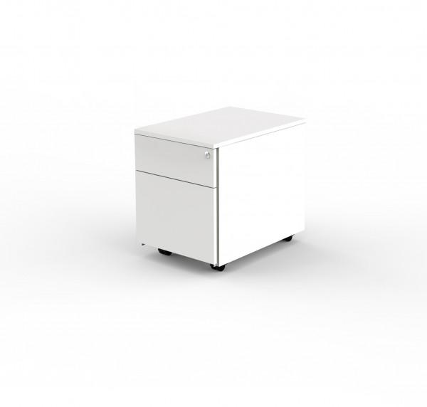Rollcontainer 1 Schublade und 1 Hängeregistratur 42 x 60 x54 cm Weiß