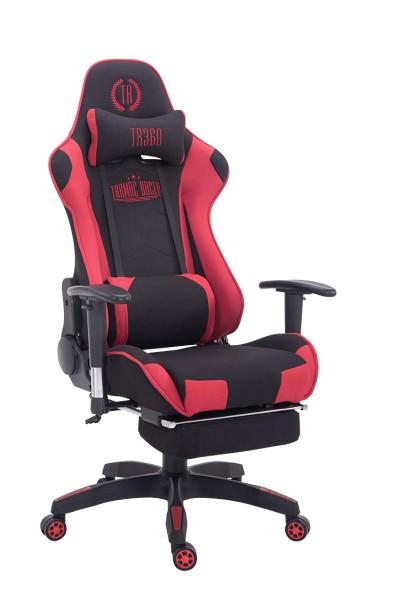 Racing Bürostuhl Turbo Stoff mit Fußablage, schwarz/rot