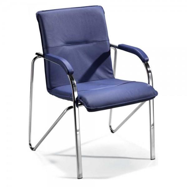 Besucherstuhl ARKAS Bezug Echtleder, blau