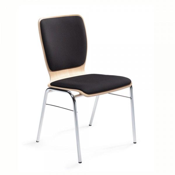 Besucherstuhl JARA Sitz- und Rückenpolster DESKIN1, schwarz