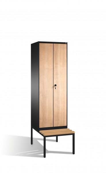 Doppelspind Evolo mit Sitzbank, 2 Abteile, 209x60x50/81cm