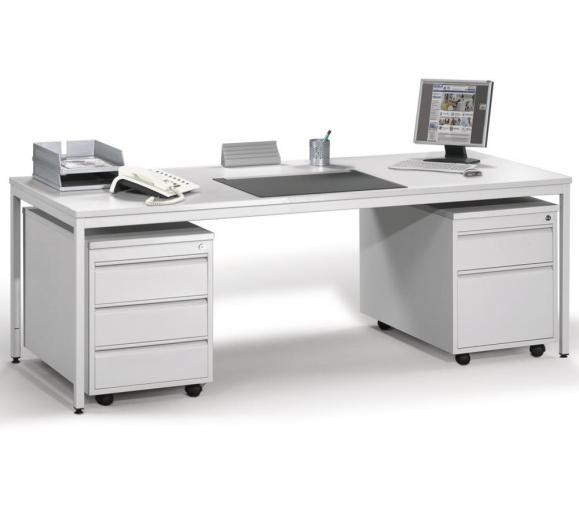 Schreibtisch BASE L 160 x 80 cm mit 2 Rollcontainern (Hängeregistratur und Schübe) Lichtgrau