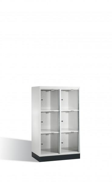 Schließfachschrank Intro XL mit Acrylglastüren, 6 Fächer, 137x82x50cm