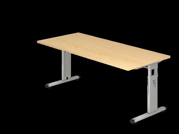 Schreibtisch MEGA, 160x80cm, Ahorn / Silber