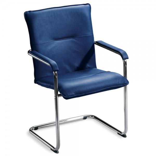 Besucherschwinger DESKIN 1 mit Armlehnen Bezug Kunstleder, blau