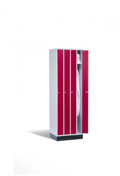 Raumspar-Umkleidespind Intro, 4 Abteile, 195x62x50cm