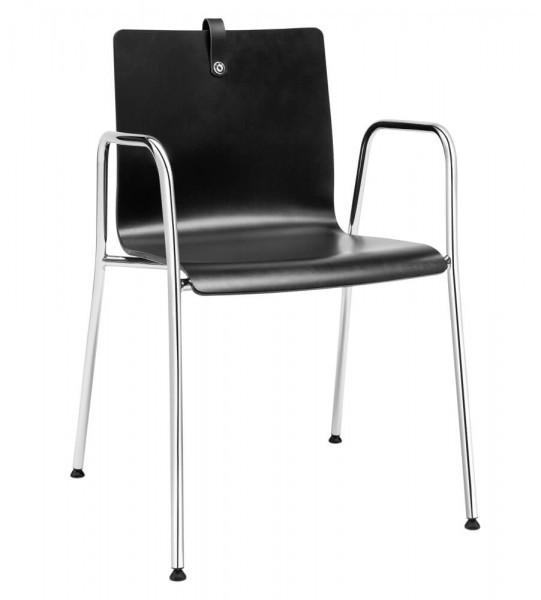 Mesami 2 4-Fuß Chrom mit Armlehnen Sitzschale Buche schwarz gebeizt und Lackiert, GL