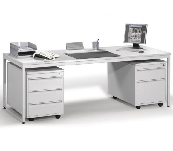 Schreibtisch BASE L 200 x 80 cm mit 2 Rollcontainern (Hängeregistratur und Schübe) Lichtgrau