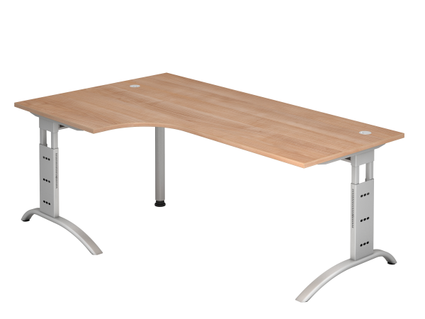 Winkeltisch 90° C-Fuß 200 x 120 cm Nussbaum / Silber