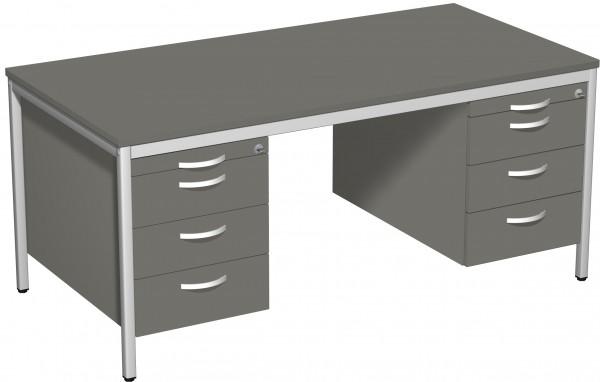 Schreibtisch mit 2 Hängecontainern, 160x80cm, Graphit / Lichtgrau