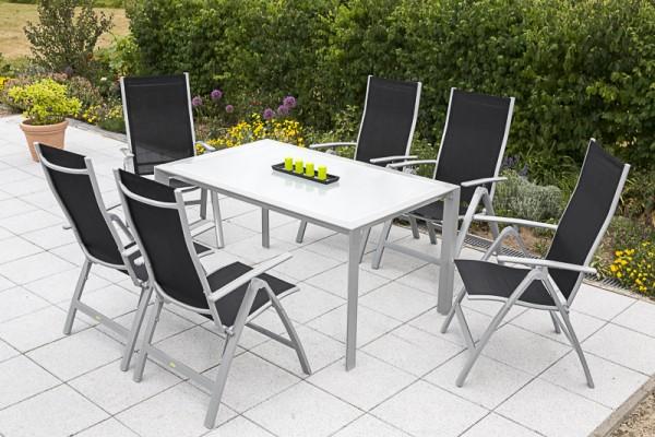 7tlg. Carrara Set schwarz, 6 Carrara Klappsessel, 1 Tisch, 150 x 90 cm