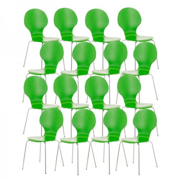 16er Set Besucherstuhl Diego, grün