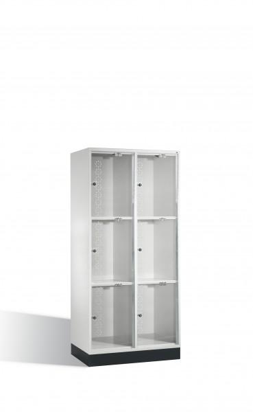 Schließfachschrank Intro XL mit Acrylglastüren, 6 Fächer, 175x82x50cm