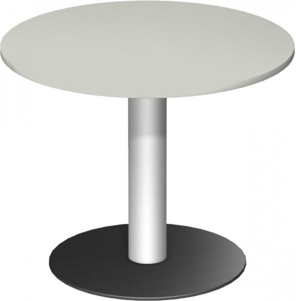 Konferenztisch Tellerfuß, Kreisform, Ø 90cm, Lichtgrau