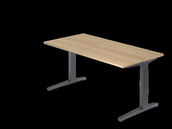 Schreibtisch C-Fuß 160 x 80 cm Eiche / Graphit