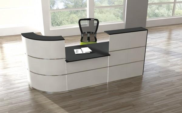 Design Empfangstheke Rezeptionstheke Cento 2,8m Weiß Anthrazit